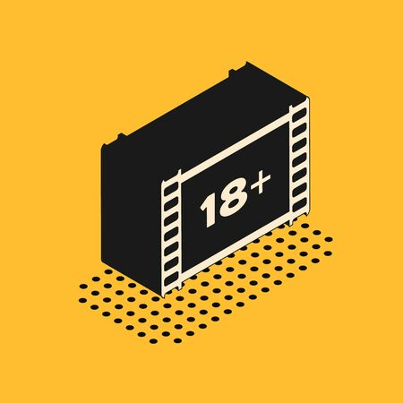 Isometric Play Video with inscription 18 plus icon isolated on yellow background. Age restriction symbol. 18 plus content sign. Adult channel. Vector Illustration