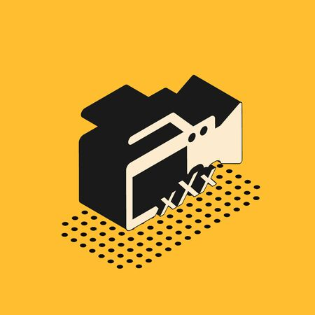 Isometric Video camera with inscription XXX icon isolated on yellow background. Age restriction symbol. 18 plus content sign. Adult channel. Vector Illustration