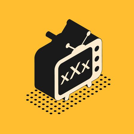 Isometric XXX tv old television icon isolated on yellow background. Age restriction symbol. 18 plus content sign. Adult channel. Vector Illustration 스톡 콘텐츠 - 134628633