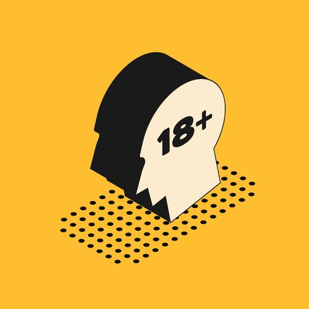 Isometric Human head with inscription 18 plus icon isolated on yellow background. 18 plus content sign. Adults content only icon. Vector Illustration