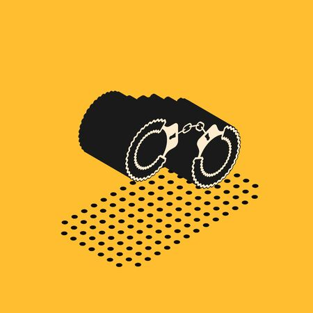 Isometric Sexy fluffy handcuffs icon isolated on yellow background. Handcuffs with fur. Fetish accessory. Sex shop stuff for sadist and masochist. Vector Illustration 스톡 콘텐츠 - 134628663
