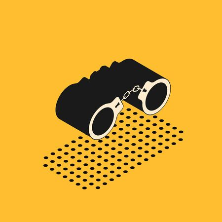 Isometric Handcuffs icon isolated on yellow background. Vector Illustration