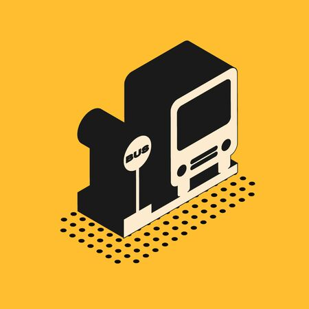 Isometric Bus stop icon isolated on yellow background. Transportation concept. Bus tour transport sign. Tourism or public vehicle symbol. Vector Illustration