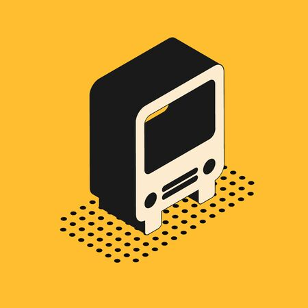 Isometric Bus icon isolated on yellow background. Transportation concept. Bus tour transport sign. Tourism or public vehicle symbol. Vector Illustration Stock Illustratie