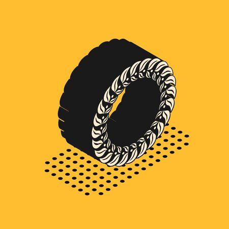 Isometric Laurel wreath icon isolated on yellow background. Triumph symbol. Vector Illustration Ilustracja