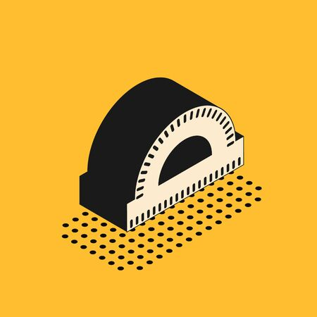 Isometric Protractor grid for measuring degrees icon isolated on yellow background. Tilt angle meter. Measuring tool. Geometric symbol. Vector Illustration Ilustracja