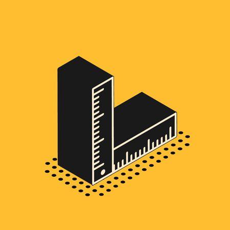 Isometric Folding ruler icon isolated on yellow background. Vector Illustration