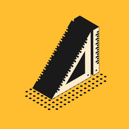 Isometric Triangular ruler icon isolated on yellow background. Straightedge symbol. Geometric symbol. Vector Illustration Standard-Bild - 134628701