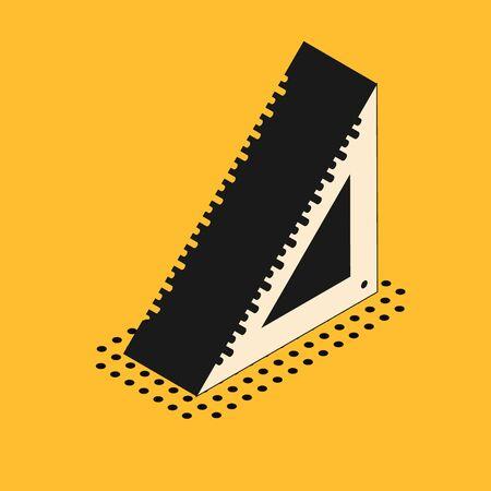 Isometric Triangular ruler icon isolated on yellow background. Straightedge symbol. Geometric symbol. Vector Illustration Standard-Bild - 134628702