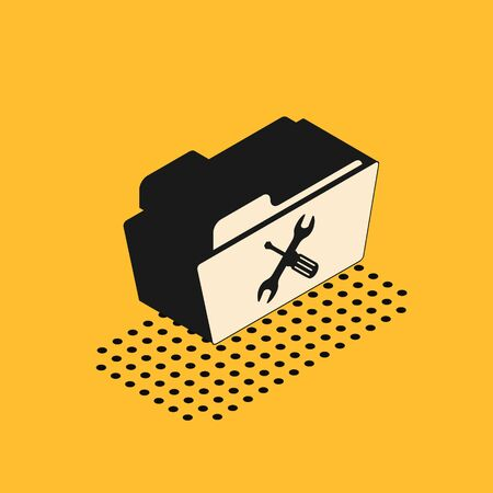 Isometric Folder with screwdriver and wrench icon isolated on yellow background. Adjusting, service, setting, maintenance, repair, fixing. Vector Illustration Illustration