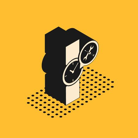 Isometric Wrist watch with screwdriver and wrench icon isolated on yellow background. Adjusting, service, setting, maintenance, repair, fixing. Vector Illustration