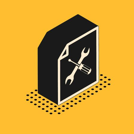 Isometric File document with screwdriver and wrench icon isolated on yellow background. Adjusting, service, setting, maintenance, repair, fixing. Vector Illustration