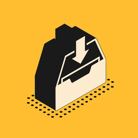 Isometric Download inbox icon isolated on yellow background. Add to archive. Vector Illustration