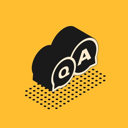 Isometric Speech bubbles with Question and Answer icon isolated on yellow background. Q and A symbol. FAQ sign. Chat speech bubble and chart. Vector Illustration