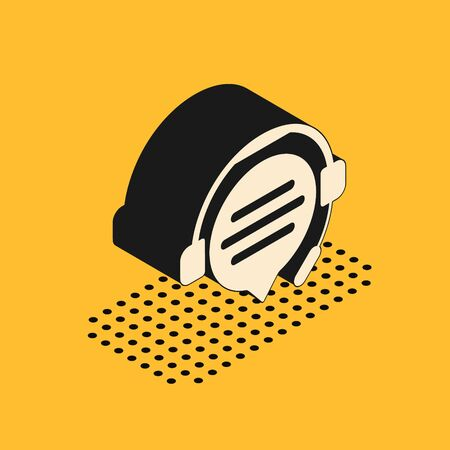 Isometric Headphones with speech bubble chat icon isolated on yellow background. Support customer service, hotline, call center, faq, maintenance. Vector Illustration