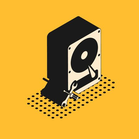 Isometric Hard disk drive with screwdriver and wrench icon isolated on yellow background. Adjusting, service, setting, maintenance, repair, fixing. Vector Illustration