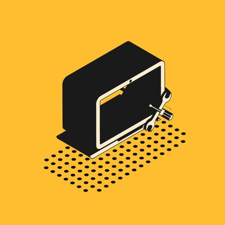 Isometric Laptop with screwdriver and wrench icon isolated on yellow background. Adjusting, service, setting, maintenance, repair, fixing. Vector Illustration