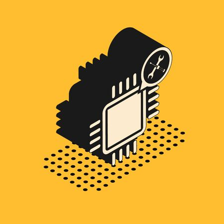 Isometric Processor with screwdriver and wrench icon isolated on yellow background. Adjusting, service, setting, maintenance, repair, fixing. Vector Illustration