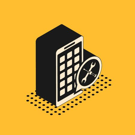 Isometric Mobile Apps with screwdriver and wrench icon isolated on yellow background. Adjusting, service, setting, maintenance, repair, fixing. Vector Illustration Illustration