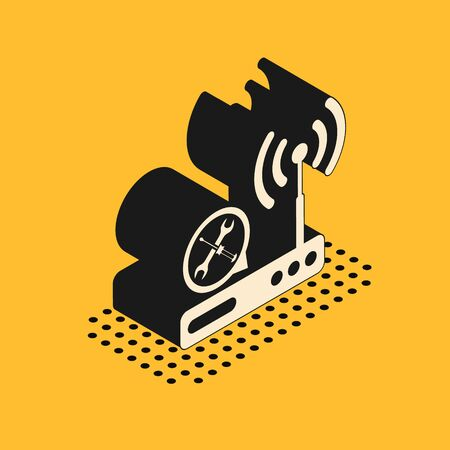 Isometric Router wi-fi with screwdriver and wrench icon isolated on yellow background. Adjusting, service, setting, maintenance, repair, fixing. Vector Illustration Illustration