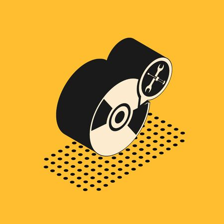 Isometric CD or DVD disk with screwdriver and wrench icon isolated on yellow background. Adjusting, service, setting, maintenance, repair, fixing. Vector Illustration