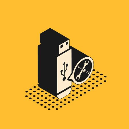 Isometric USB flash drive with screwdriver and wrench icon isolated on yellow background. Adjusting, service, setting, maintenance, repair, fixing. Vector Illustration