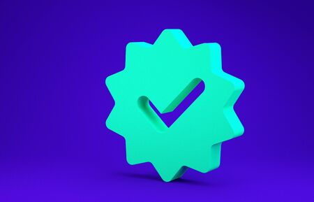 Green Approved or certified medal with ribbons and check mark icon isolated on blue background. Minimalism concept. 3d illustration 3D render Stock Photo
