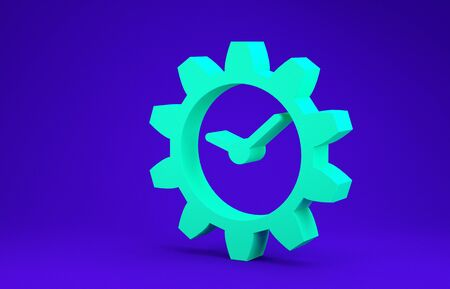 Green Time Management icon isolated on blue background. Clock and gear sign. Minimalism concept. 3d illustration 3D render Stok Fotoğraf