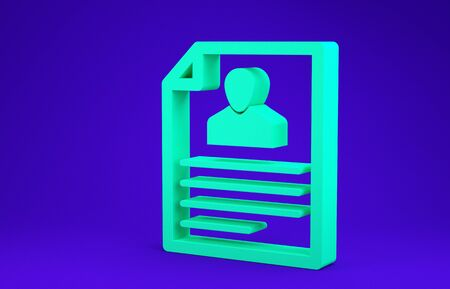 Green Resume icon isolated on blue background. CV application. Searching professional staff. Analyzing personnel resume. Minimalism concept. 3d illustration 3D render
