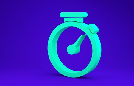 Green Stopwatch icon isolated on blue background. Time timer sign. Minimalism concept. 3d illustration 3D render Stok Fotoğraf - 134662831