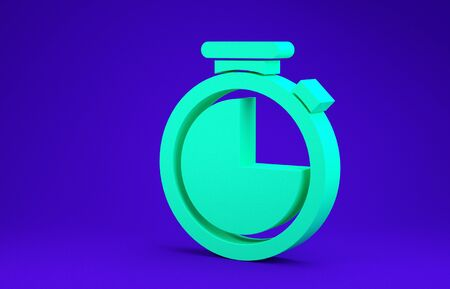 Green Stopwatch icon isolated on blue background. Time timer sign. Minimalism concept. 3d illustration 3D render Stok Fotoğraf - 134662833
