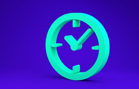 Green Clock icon isolated on blue background. Minimalism concept. 3d illustration 3D render