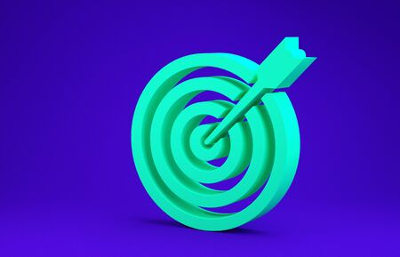 Green Target with arrow icon isolated on blue background. Dart board sign. Archery board icon. Dartboard sign. Business goal concept. Minimalism concept. 3d illustration 3D render