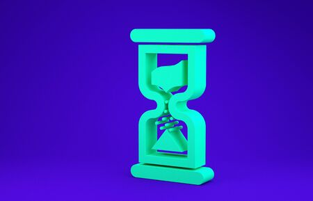 Green Old hourglass with flowing sand icon isolated on blue background. Sand clock sign. Business and time management concept. Minimalism concept. 3d illustration 3D render Stok Fotoğraf - 134662845