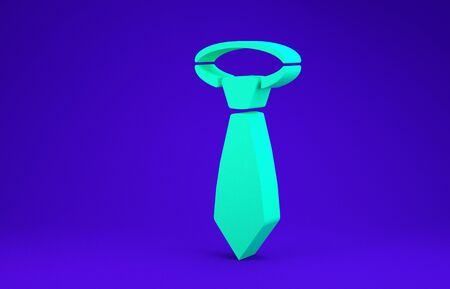 Green Tie icon isolated on blue background. Necktie and neckcloth symbol. Minimalism concept. 3d illustration 3D render