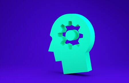 Green Human head with gear inside icon isolated on blue background. Artificial intelligence. Thinking brain sign. Symbol work of brain. Minimalism concept. 3d illustration 3D render Stock fotó
