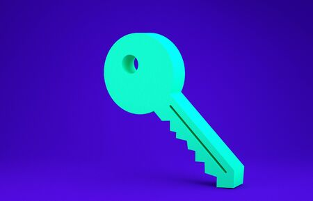 Green Key icon isolated on blue background. Minimalism concept. 3d illustration 3D render
