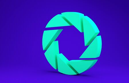 Green Camera shutter icon isolated on blue background. Minimalism concept. 3d illustration 3D render