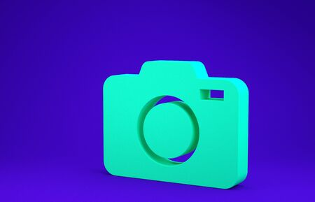 Green Photo camera icon isolated on blue background. Foto camera icon. Minimalism concept. 3d illustration 3D render
