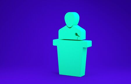 Green Speaker icon isolated on blue background. Orator speaking from tribune. Public speech. Person on podium. Minimalism concept. 3d illustration 3D render