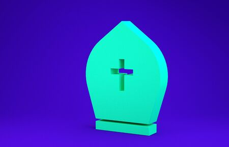 Green Pope hat icon isolated on blue background. Christian hat sign. Minimalism concept. 3d illustration 3D render Zdjęcie Seryjne