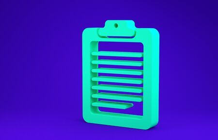 Green Clipboard with document icon isolated on blue background. Minimalism concept. 3d illustration 3D render