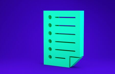 Green Document icon isolated on blue background. File icon. Checklist icon. Business concept. Minimalism concept. 3d illustration 3D render