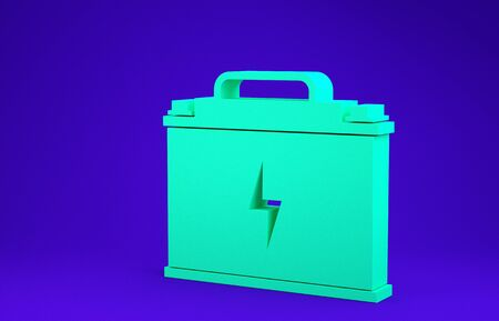 Green Car battery icon isolated on blue background. Accumulator battery energy power and electricity accumulator battery. Lightning bolt. Minimalism concept. 3d illustration 3D render