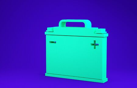 Green Car battery icon isolated on blue background. Accumulator battery energy power and electricity accumulator battery. Minimalism concept. 3d illustration 3D render