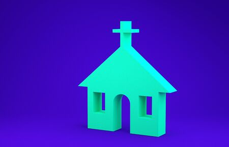 Green Church building icon isolated on blue background. Christian Church. Religion of church. Minimalism concept. 3d illustration 3D render