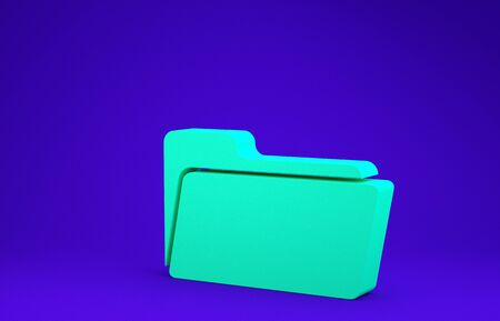 Green Folder icon isolated on blue background. Minimalism concept. 3d illustration 3D render Stockfoto - 134636905