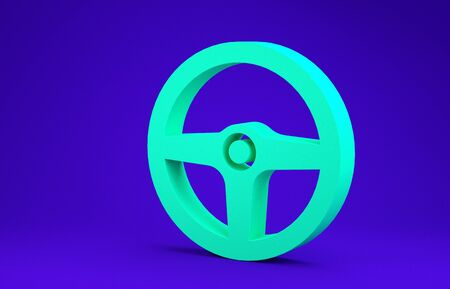 Green Steering wheel icon isolated on blue background. Car wheel icon. Minimalism concept. 3d illustration 3D render Stock Photo