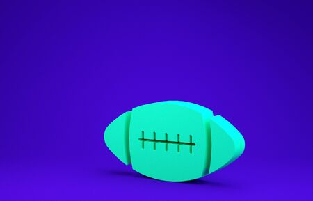 Green American Football ball icon isolated on blue background. Minimalism concept. 3d illustration 3D render