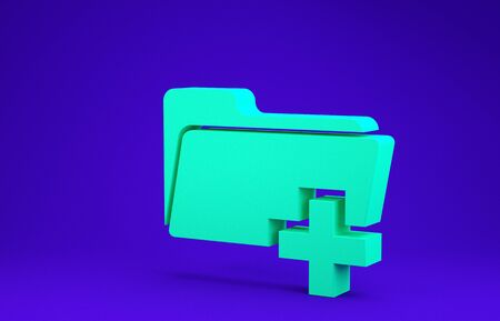 Green Add new folder icon isolated on blue background. New folder file sign. Copy document icon. Add attach create folder make new plus icon. Minimalism concept. 3d illustration 3D render Stockfoto - 134636926